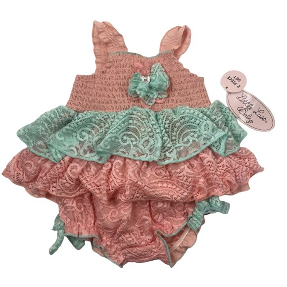 NWT Little Lass Baby Cora and MintGreen Ruffled Sleeveless Two Piece, Baby 6/9M